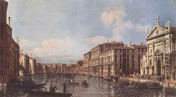 View of the Grand Canal at San Stae Oil Painting - Bernardo Bellotto