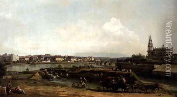 Dresden from the Left Bank of the Elbe, below the Fortifications 1748 Oil Painting - Bernardo Bellotto