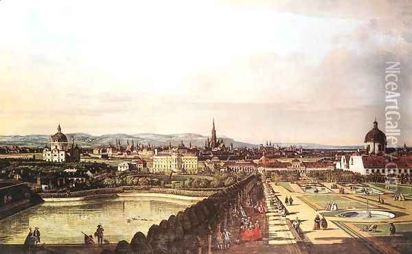 View of Vienna from the Belvedere 1759-60 Oil Painting - Bernardo Bellotto