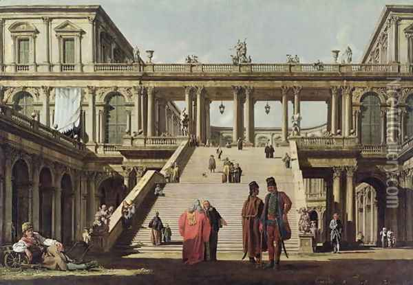 Castle Courtyard, 1762 Oil Painting - Bernardo Bellotto