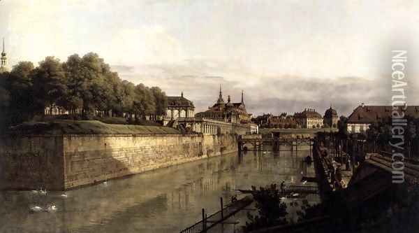 The Moat of the Zwinger in Dresden 1749-53 Oil Painting - Bernardo Bellotto