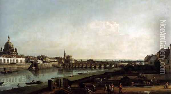 Dresden from the Right Bank of the Elbe, above the Augustusbrücke 1747 Oil Painting - Bernardo Bellotto