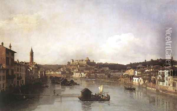 View of Verona and the River Adige from the Ponte Nuovo 1747-48 Oil Painting - Bernardo Bellotto