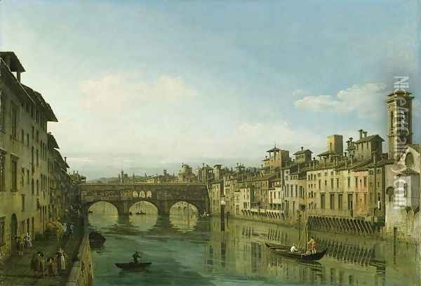The Arno in Florence with the Ponte Vecchio, c.1745 Oil Painting - Bernardo Bellotto