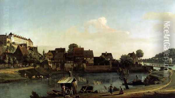 Pirna Seen from the Harbour Town 1753-55 Oil Painting - Bernardo Bellotto
