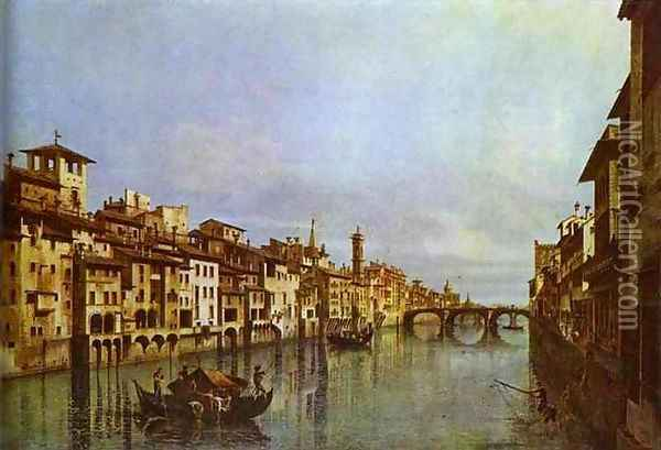 Arno in Florence Oil Painting - Bernardo Bellotto