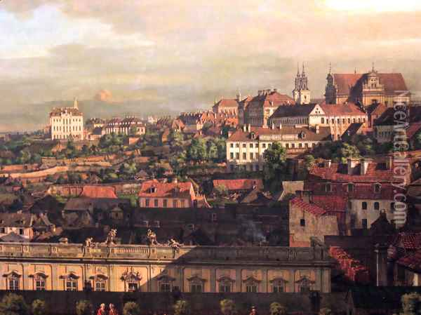 View on Warsaw from Royal Castle fragment Oil Painting - Bernardo Bellotto