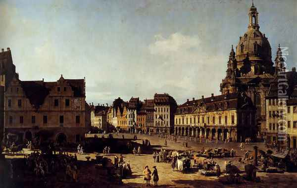 View Of The New Market In Dresden Oil Painting - Bernardo Bellotto