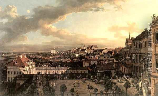 View of Warsaw from the Terrace of the Royal Castle in Warsaw Oil Painting - Bernardo Bellotto