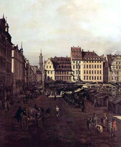 View of Dresden, The Old Market Square from the Seegasse, Detail Oil Painting - Bernardo Bellotto