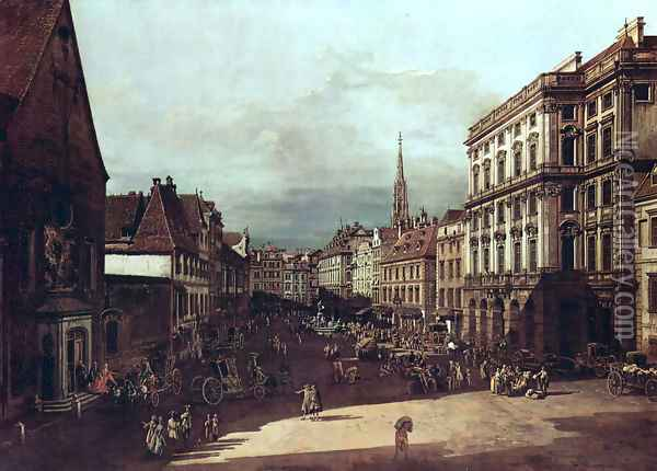 View from Vienna, flour market of Southwest northeast view Oil Painting - Bernardo Bellotto
