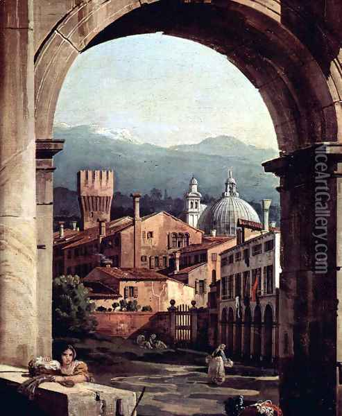 Capriccio Romano, and gate tower, detail Oil Painting - Bernardo Bellotto