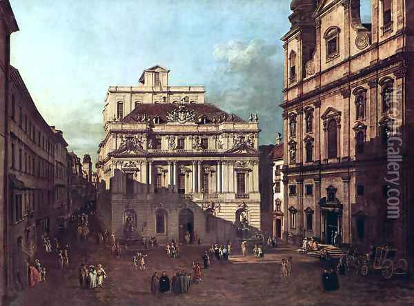 View from Vienna, square in front of the university, from southeast of view, with the large auditorium of th 2 Oil Painting - Bernardo Bellotto