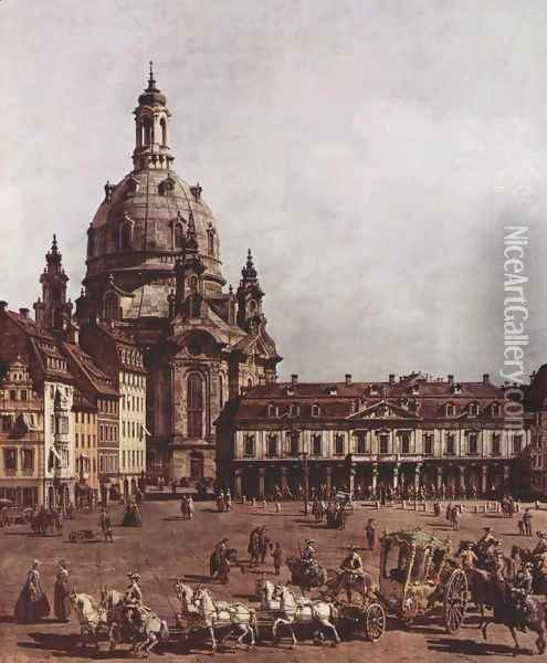 View of Dresden, the Neumarkt in Dresden, Jewish cemetery, with women's Church and the Old Town Watch, detai Oil Painting - Bernardo Bellotto