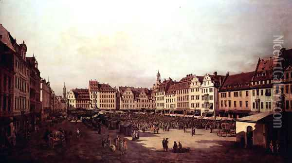 View of Dresden, The Old Market Square from the Seegasse Oil Painting - Bernardo Bellotto