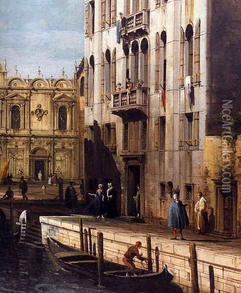 Rio dei Mendicanti with the Scuola di San Marco (detail) Oil Painting - Bernardo Bellotto
