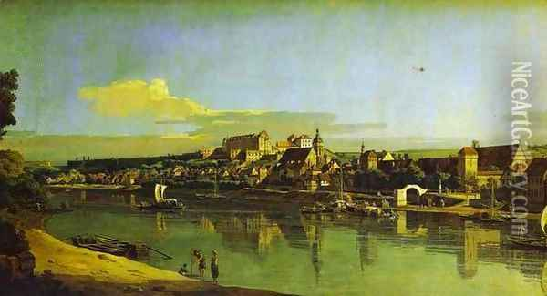Pirna Seen from the Right Bank of the Elbe Oil Painting - Bernardo Bellotto