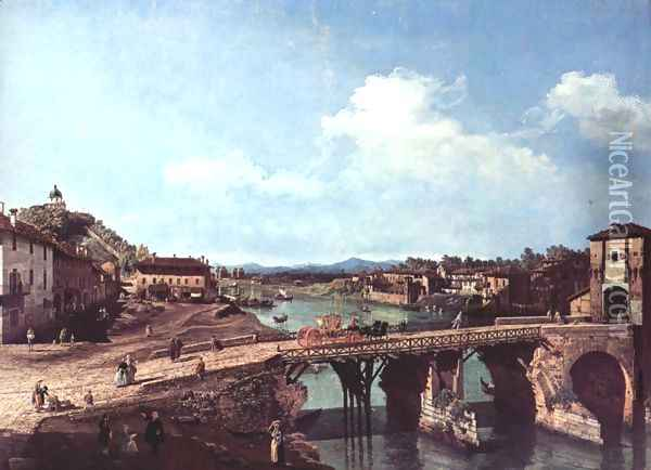 Turin, view from the northeast to the ancient bridge over the Po Oil Painting - Bernardo Bellotto