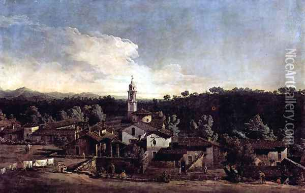 The village Gazzada view of the south (Vedute of Gazzada) Oil Painting - Bernardo Bellotto
