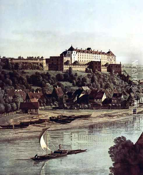 View from Pirna, Pirna of the vineyards at Posta, with Fortress Sonnenstein, Detail Oil Painting - Bernardo Bellotto