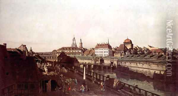 View of Dresden, The Fortress plants in Dresden, with a moat between Wilschen Gate Bridge and Post miles pil 3 Oil Painting - Bernardo Bellotto