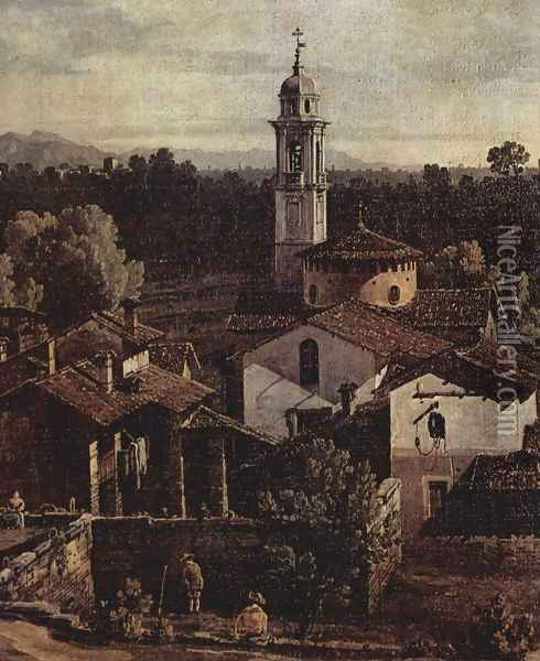 The village Gazzada view of the south (Vedute of Gazzada), Detail Oil Painting - Bernardo Bellotto