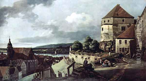 View from Pirna, Pirna, from the sun-stone fortress view Oil Painting - Bernardo Bellotto