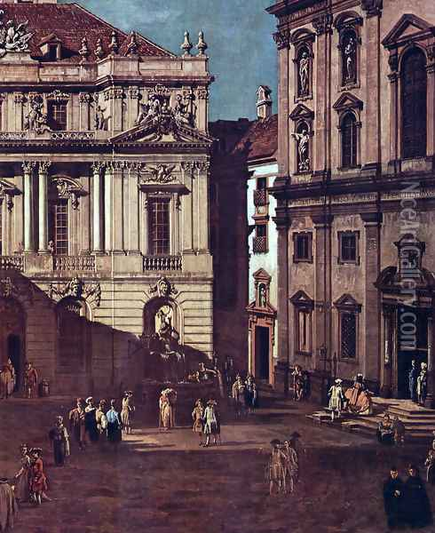 View from Vienna, square in front of the university, from southeast of view, with the large auditorium of th Oil Painting - Bernardo Bellotto