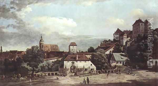View from Pirna, Pirna from the south side view, with fortifications and Oberstar (gate), and sun stone fort 3 Oil Painting - Bernardo Bellotto