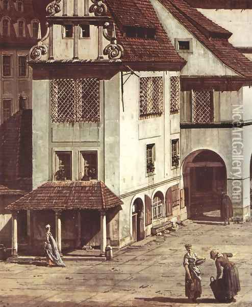 View from Pirna, the market square in Pirna, Detail Oil Painting - Bernardo Bellotto
