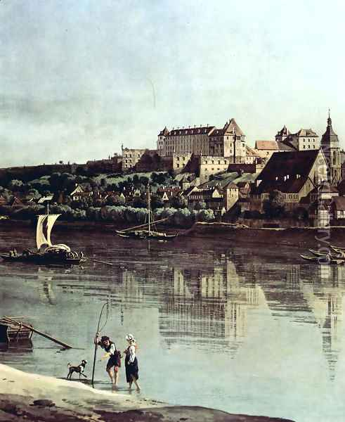 View from Pirna, Pirna of Kopitz, with Fortress Sonnenstein, Detail Oil Painting - Bernardo Bellotto