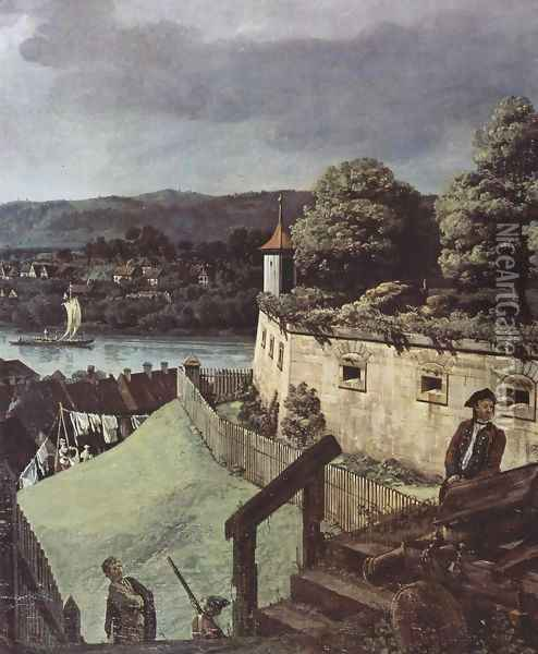 View from Pirna, Pirna, from the sun-stone fortress view, Detail 1 Oil Painting - Bernardo Bellotto