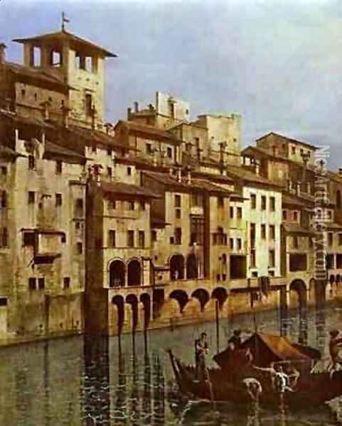 Arno In Florence Detail Early 1740s Oil Painting - Bernardo Bellotto