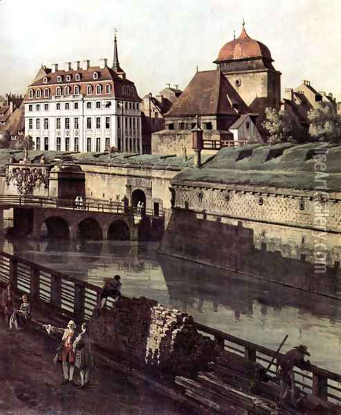 View of Dresden, The Fortress plants in Dresden, with a moat between Wilschen Gate Bridge and Post miles pil 2 Oil Painting - Bernardo Bellotto