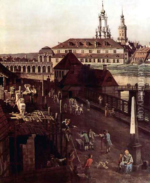 View of Dresden, The Fortress plants in Dresden, with a moat between Wilschen Gate Bridge and Post miles pil Oil Painting - Bernardo Bellotto