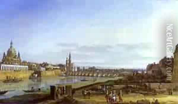 Dresden From The Right Bank Of The Elbe Above The Augustus Bridge 1750 Oil Painting - Bernardo Bellotto