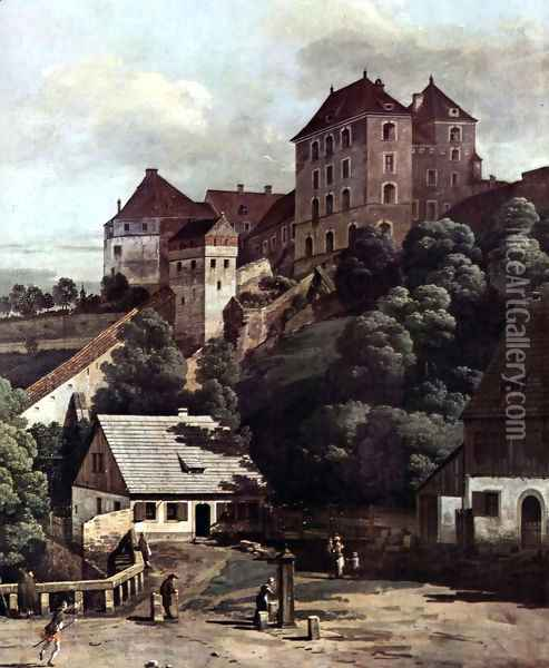 View from Pirna, Pirna from the south side view, with fortifications and Oberstar (gate), and sun stone fort 2 Oil Painting - Bernardo Bellotto
