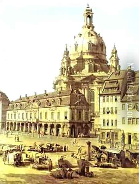 The New Market Square In Dresden Seen From The Judenhof Detail 1749 Oil Painting - Bernardo Bellotto