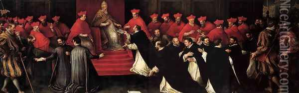 Honorius III Approving the Rule of St Dominic in 1216 Oil Painting - Leandro Bassano