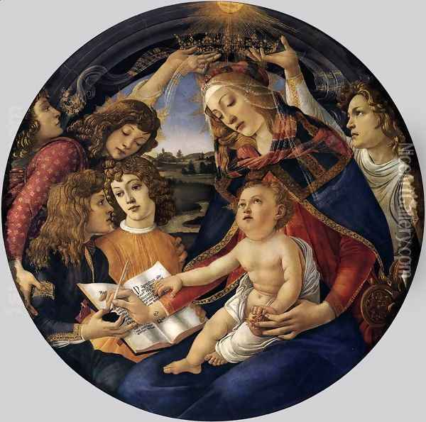 Madonna of the Magnificat (Madonna del Magnificat) 1480-81 Oil Painting - Sandro Botticelli