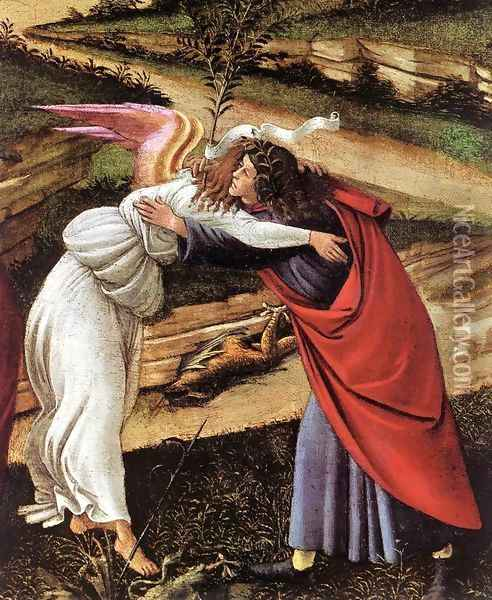 The Mystical Nativity (detail 1) c. 1500 Oil Painting - Sandro Botticelli