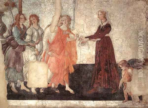 Venus and the Three Graces Presenting Gifts to a Young Woman c. 1484 Oil Painting - Sandro Botticelli