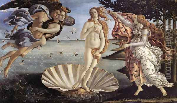 The Birth of Venus c. 1485 Oil Painting - Sandro Botticelli