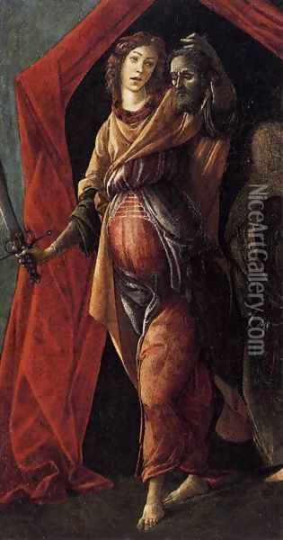 Judith Leaving the Tent of Holofernes 1495-1500 Oil Painting - Sandro Botticelli