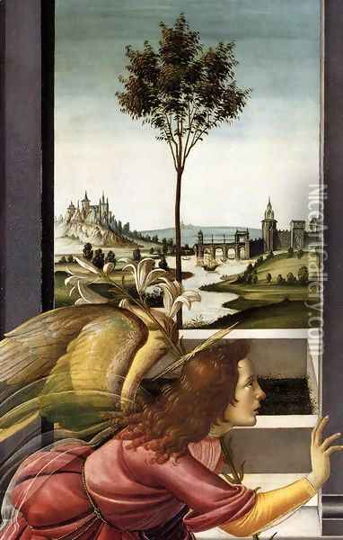 Cestello Annunciation (detail 1), 1489-90 Oil Painting - Sandro Botticelli