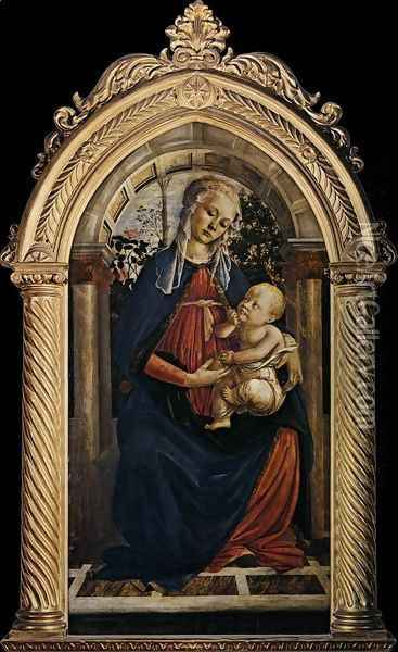 Madonna of the Rosegarden (Madonna del Roseto) 1469-70 Oil Painting - Sandro Botticelli