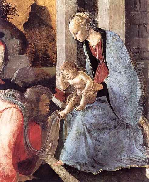 Adoration of the Magi (detail 2) 1465-67 Oil Painting - Sandro Botticelli