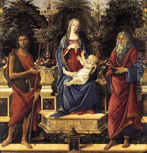 The Virgin and Child Enthroned (Bardi Altarpiece) 1484 Oil Painting - Sandro Botticelli