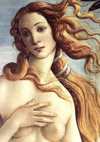 The Birth of Venus (detail 3) c. 1485 Oil Painting - Sandro Botticelli