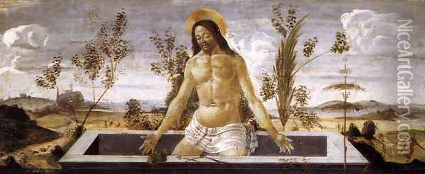 Christ in the Sepulchre c. 1488 Oil Painting - Sandro Botticelli
